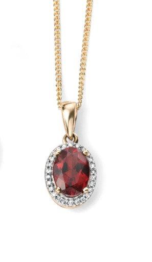 Ladies Garnet & Diamond 9ct Gold Pendant, GP970R.