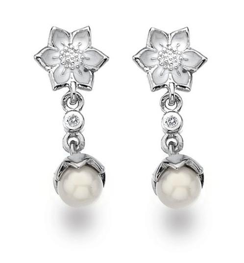 White Ice Sterling Silver Diamond Earrings De328