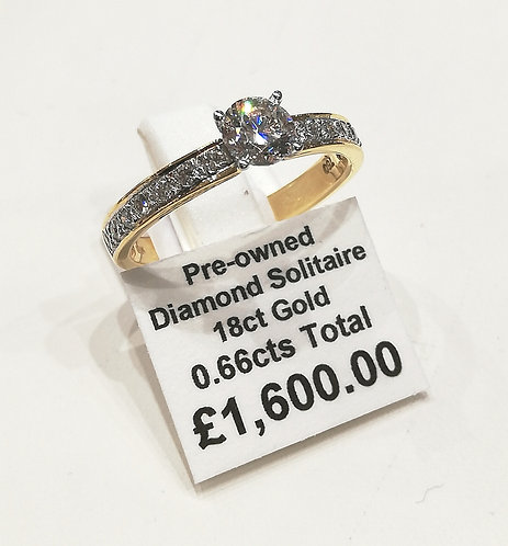 Diamond solitaire ring, 0.66cts