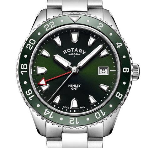 Mens Rotary Green GMT Henley Watch, GB05108/24.