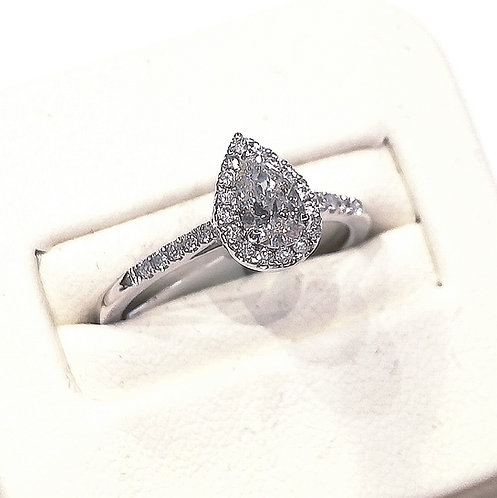Diamond Halo Engagement Ring 0.58cts. total, 18ct White Gold