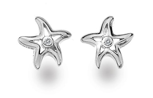 White Ice Sterling Silver and Diamond Stud Earrings, DE331