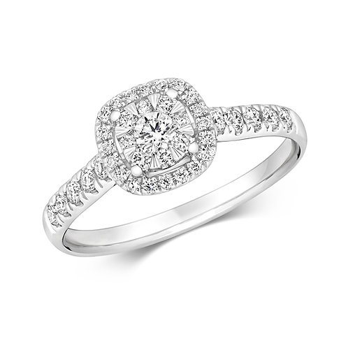 Diamond Vintage Style Cluster Ring 0.46cts, 18ct White Gold