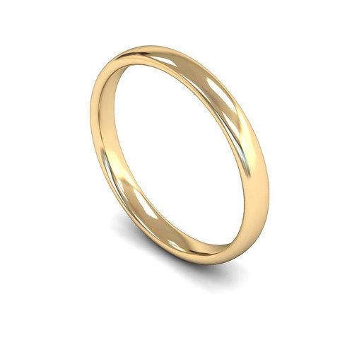 9ct Gold Slight Court Wedding Bands, WBL 2.5mm