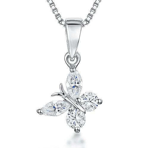Jools Sterling Silver cz butterfly pendant kpn1322