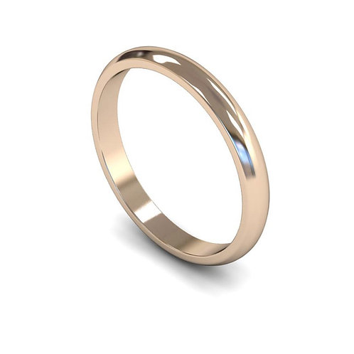 9ct Gold D-Shape 2.5mm Wedding Bands, WDL 2.5mm.