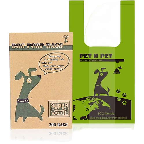 Dog Poop Bags Earth-Friendly 200 Counts Unscented Tie Handle