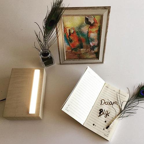 BRICK - lampada da comodino a led in legno massello