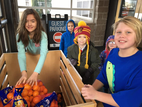 Dropping off Cuties to the food bank
