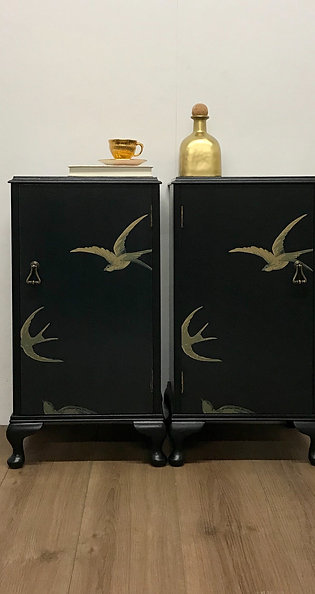 Swallows Decoupage Bedside Tables