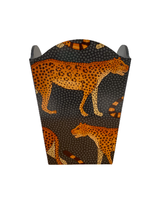 Leopard waste paper bin