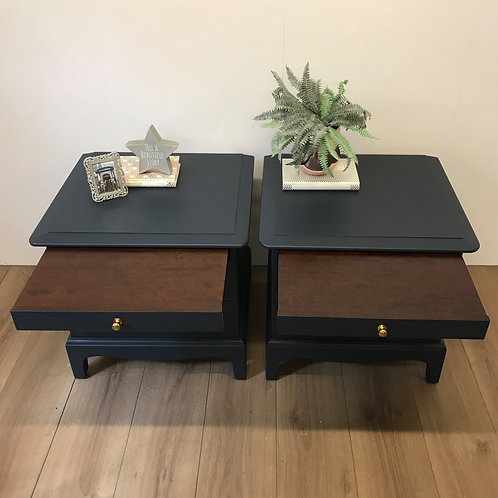 pair Stag bedside tables navy blue