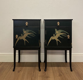 decoupage bedside tables in black with Swallow bird print