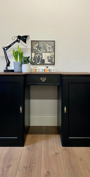 Campbell Pedestal Black Desk and Chair