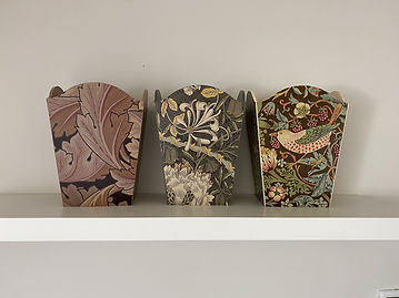 waste paper bins decoupaged in William Morris print including Strawberry Thief