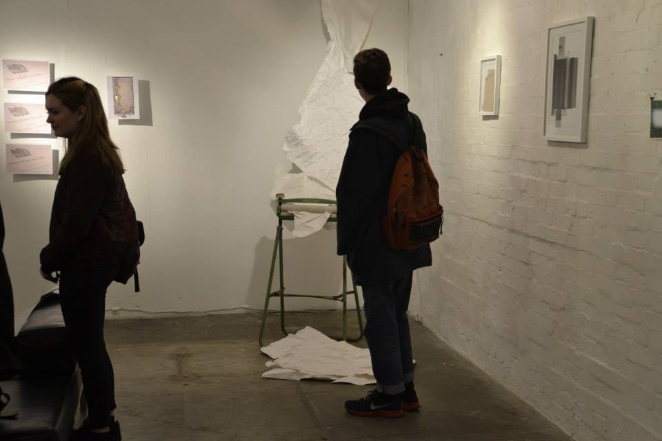 Installation view of work on paper show