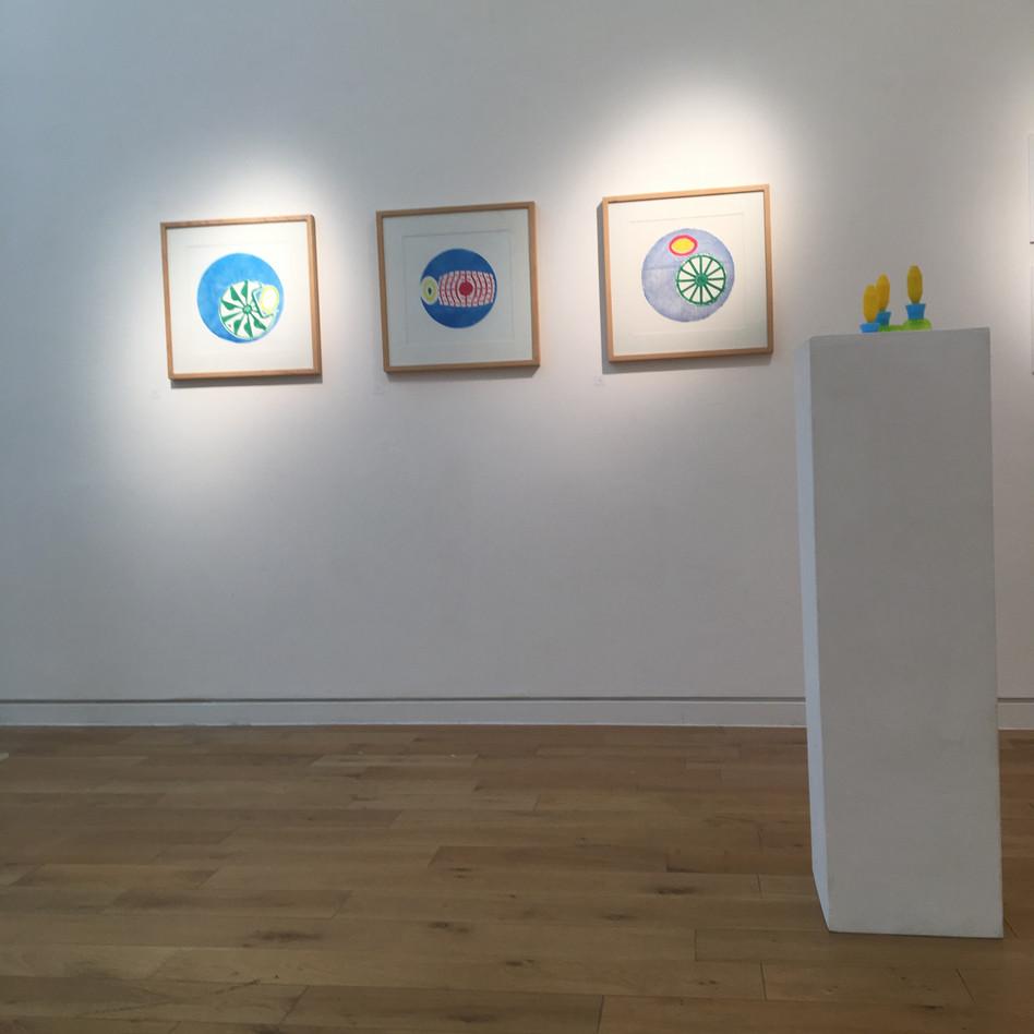instalation view of prints- Green Meringue, Meet Pink, Victoria Margarita