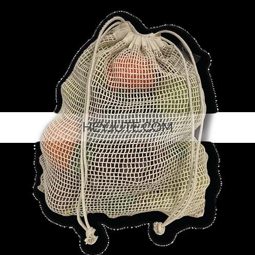 Produce Net Bags - Cotton Drawstring Dual Face Back Side Branding