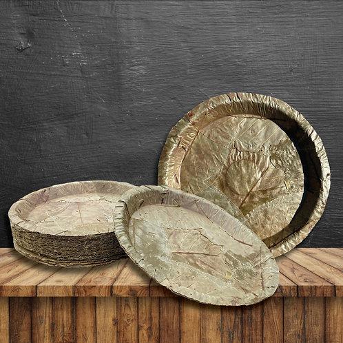 "Sal Leaf Plates - 12"" Round (100 Pack)"