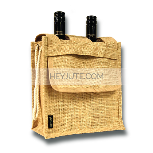 Wine Bottle Carrier - 2 Bottles Closed Flap