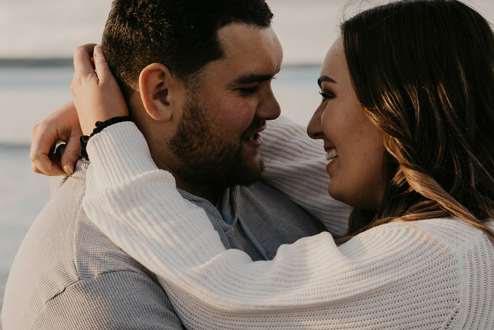Couple in love celebrating engagement in Auckland