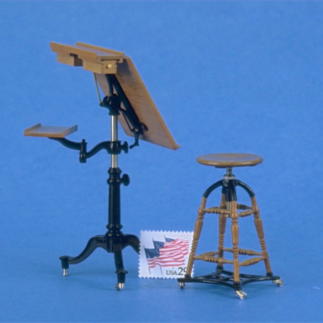 Architect's Classroom, table and stool, table tilts, raises and lowers, casters roll and swivel