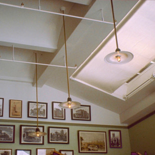 Architect's Classroom, Grinell 1893 patent sprinkler heads and spun metal lamps
