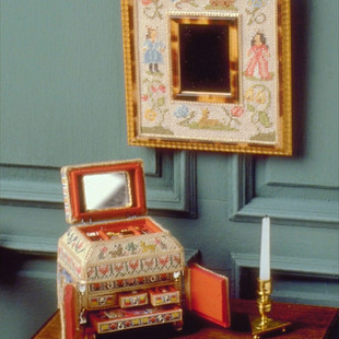 17th c. Needlepoint Casket, drawer fronts by Annelle Ferguson