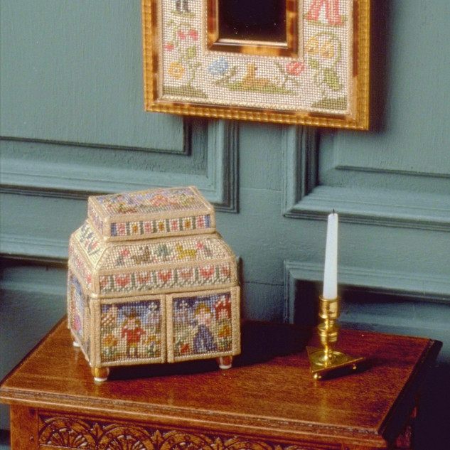 17th c. Needlepoint Casket, outside needle point by Esther R. Robertson, 1999