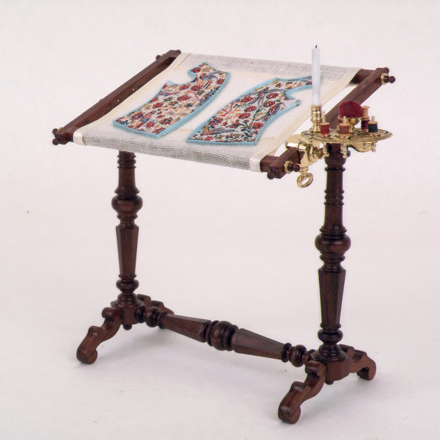 Sewing Stand, rosewood, brass, silk, 2015