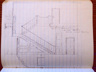 Twin Manors, drawing of stairway, 1982
