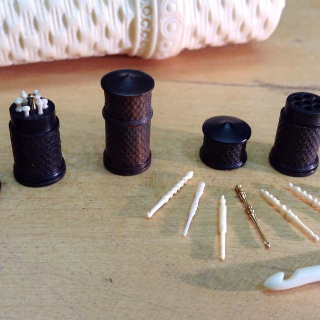 Crochet Set, Blackwood, ivory, nickel silver