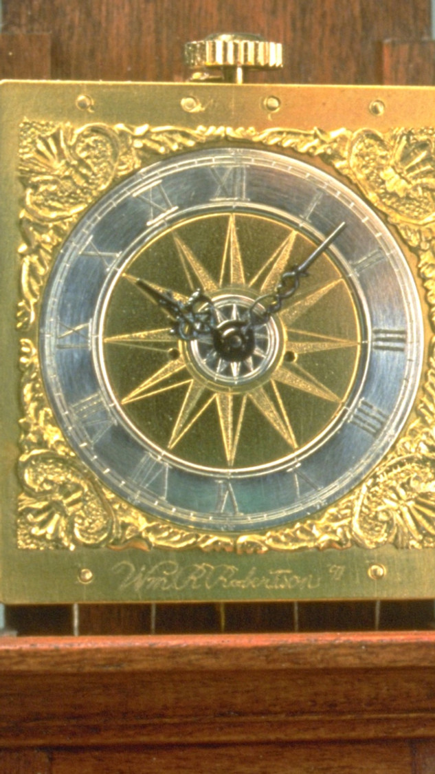Engraved face from another clock by WRR, silver, brass, 1990