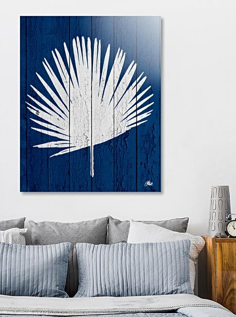 Deep Blue Palm print
