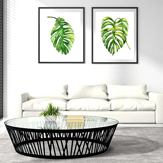 Green watercolor leaves