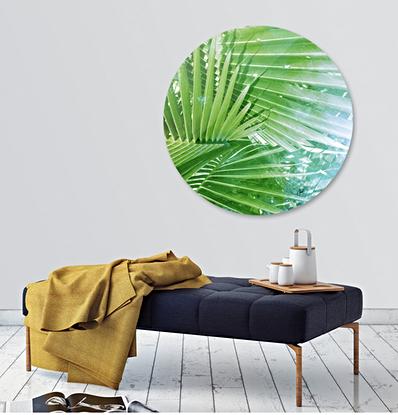 Green palm on metal