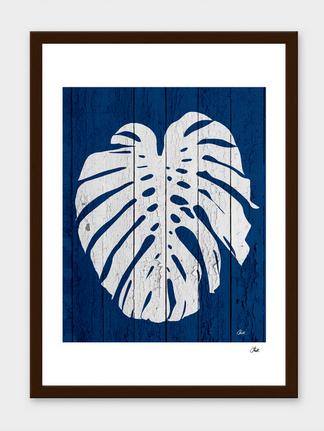 Tropical dark blue palm leaf