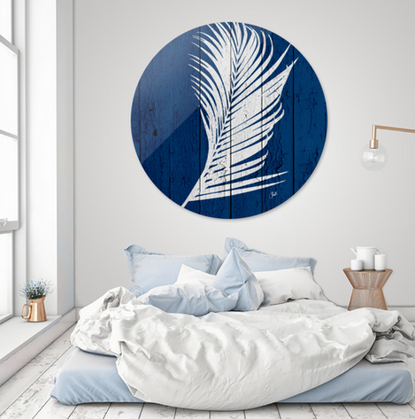 Blue tropical palm art