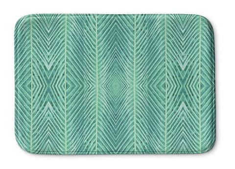 Bathroom rug green palm pattern