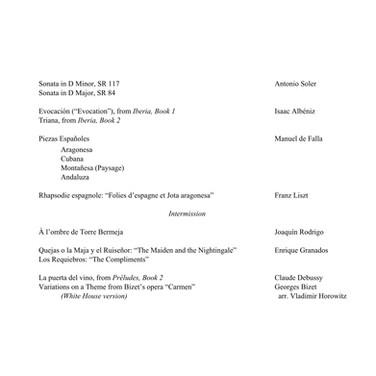 Soler, Albeniz, Falla, Liszt, Rodrigo, Granados, Debussy, Bizet