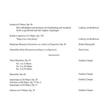 Beethoven, Muczynski, Liszt, Chopin