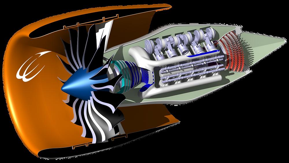 Kompozit çevrim motor (composite-cycle engine) çizimi. Bu motorda klasik turbo fan motoru ile pistonlu motor bir araya getirilmiş.