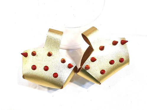 Toe Guard Cup Leather Metallic Gold Red Stud Shoes 4-9 Size