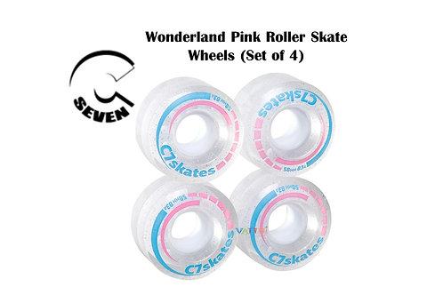C7 Wonderland Pink Roller Skate 4 Clear White Wheels ซี7สเก็ตวันเดอร์เเลนด์ล้อใส