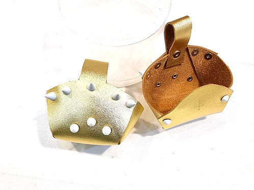 Toe Guard Cup Leather Metallic Gold White Stud Shoes 4-9 Size