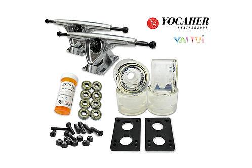 "Yocaher HD7 Longboard Combo Set 7"" Polish Trucks Gel Clear Wheels Abec 7 Bearing"