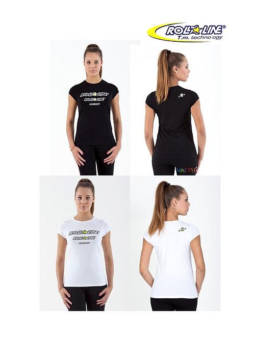 ROLL-LINE SHORT SLEEVE T-SHIRT WOMAN FASHION White Black โรลไลน์เสื้อยืดผู้หญิง
