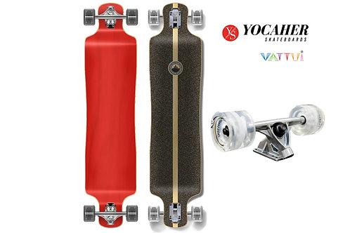Yocaher Lowrider Blank Longboard Complete Red โยคาเฮอลองสเก็ตบอร์ดเเดงโลไรเดอร์