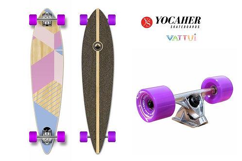 Yocaher Pintail Longboard Complete Geometric Purple โยคาเฮอลองบอร์ดพินเทลม่วง