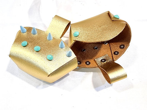 Toe Guard Cup Leather Metallic Gold Blue Stud Shoes 4-9 Size